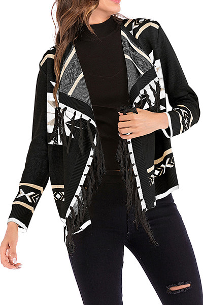 Fold Over Collar  Tassel  Print Cardigans