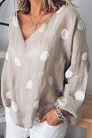 V-Neck Long-Sleeved Cotton And Linen Dot Long-Sleeved Shirt