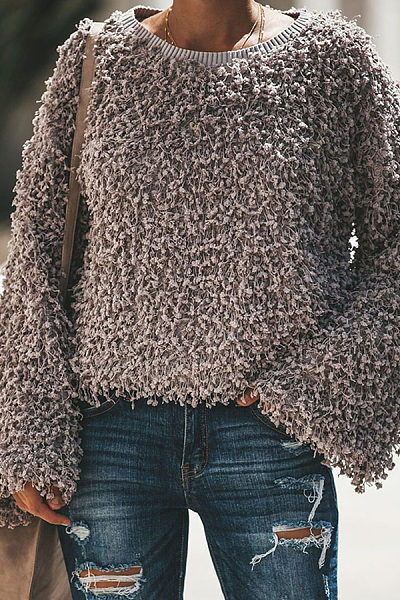 Round Neck  Plain  Bell Sleeve Sweaters