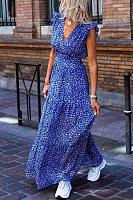Elegant Elegant Ruffled Sleeveless Printed Colour Dress