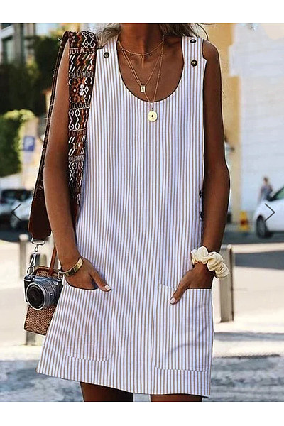 Round Neck  Patch Pocket  Striped Shift Dress