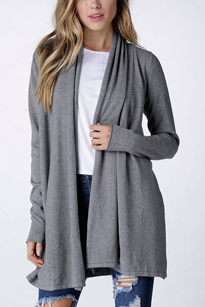Polyester  Casual  Autumn Plain Cardigans
