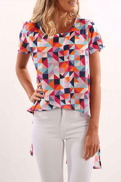 Round Neck  Asymmetric Hem Slit  Assorted Colors T-Shirts
