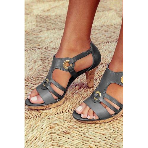 Plain  Chunky  High Heeled  Peep Toe  Date Travel Sandals