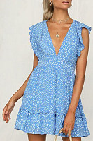 Fashion Sexy V-Neck Printed Lace-Up Ruffle Dress