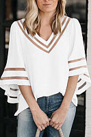 V Neck  Seamless  Plain  Bell Sleeve  Blouses