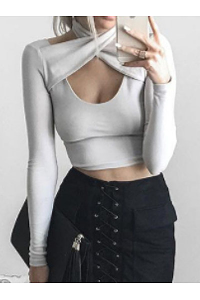 Asymmetric Neck  Patchwork  Plain Long Sleeve T-Shirts