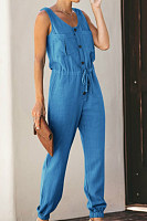 Round Neck  Single Breasted  Plain  Sleeveless  Basic Jumpsuits