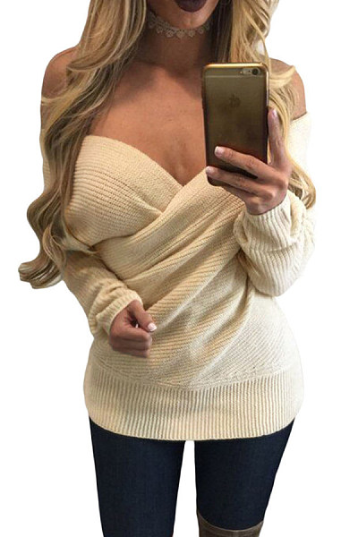 Deep V Neck  Backless  Plain Sweaters