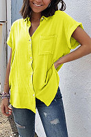 Summer Short Sleeve Pocket Solid Color Ladies Shirt