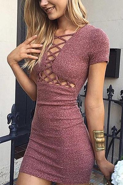 Cutout  Bust Darts  Plain  Short Sleeve Bodycon Dresses