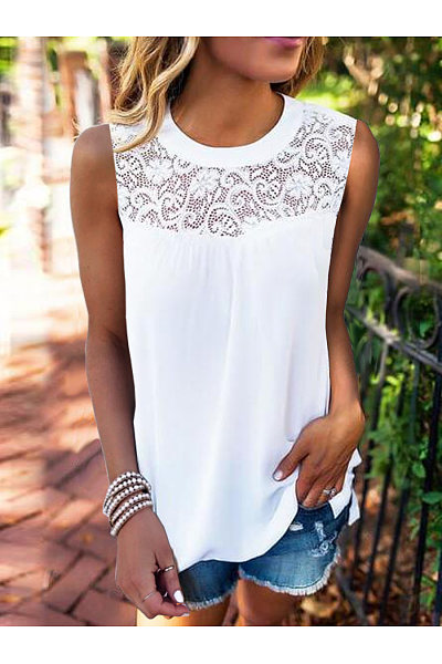 Casual Lace Collage Sleeveless T-Shirt