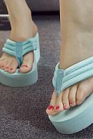 Plain  High Heeled  Cotton  Peep Toe  Casual Wedges