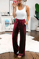 Plain Drawstring Casual Pants