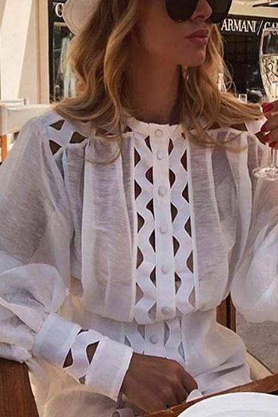 Fashion Casual Long Sleeve Broken Holes Shirt