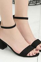Plain  Chunky  Mid Heeled  Velvet  Ankle Strap  Peep Toe  Date Office Platform Sandals
