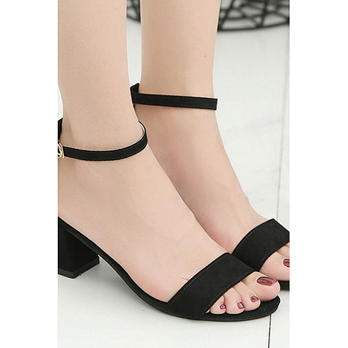 Plain  Chunky  Mid Heeled  Velvet  Ankle Strap  Peep Toe  Date Office Platform Sandals