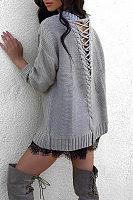 Round Neck  Cross Straps  Plain Sweaters