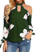 Sexy Loose Halter Strapless Long Sleeve Floral Print T-Shirt