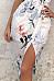 Deep V Neck  Asymmetric Hem  Curved Hem  Floral Printed  Sleeveless Maxi Dresses
