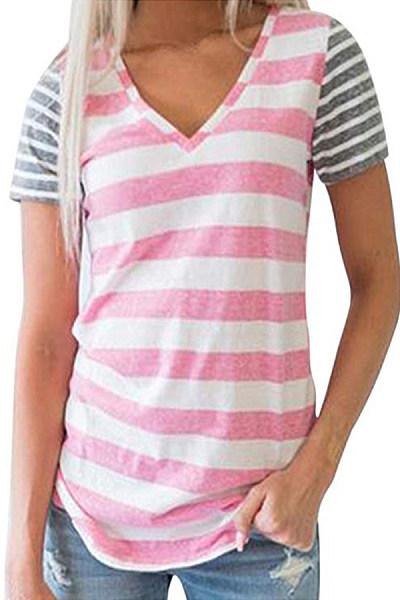 V Neck  Patchwork  Stripes T-Shirts
