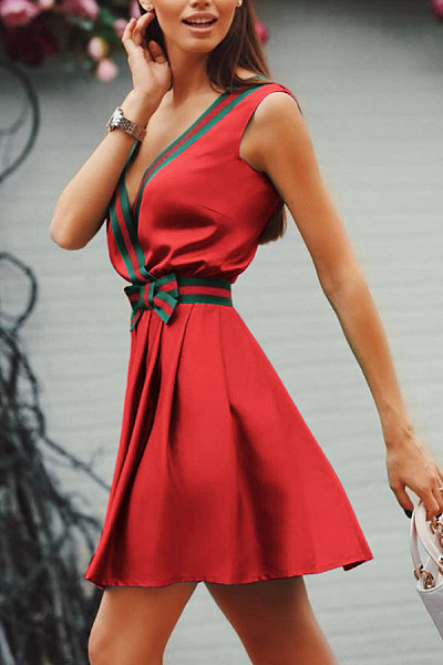 Deep V Neck Fitted Sexy Skater Dresses