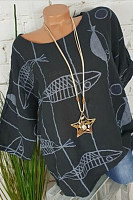 Casual Round Neck Bat Sleeve Loose Printed T-Shirt