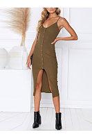 Stylish Sexy Single-Breasted Halter Dress