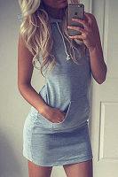 Hooded  Drawstring  Plain Bodycon Dresses