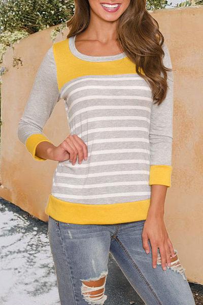 Round Neck  Striped T-Shirts