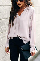 V Neck  Lace Plain  Blouses