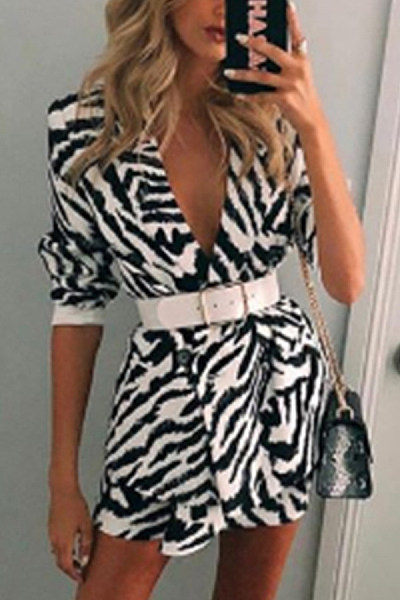 Fashion Zebra-Stripe Lapels Medium Long Sleeve Blazer