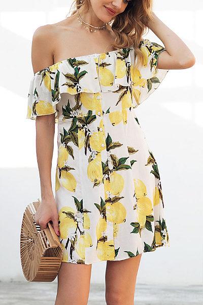 Off Shoulder  Flounce Single Breasted  Printed  Short Sleeve Skater Dresses