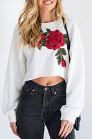Asymmetric Hem  Exposed Navel  Embroidery Sweatshirts