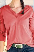 V Neck Plain Loose-Fitting T-Shirts