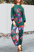 Tie Collar  Elastic Waist  Two Way  Print  Three Quarter Sleeve Jumpsuits