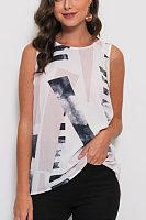 Round Neck  Asymmetric Hem Zipper  Printed  Vests