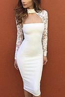 Halter  Hollow Out Plain Bodycon Dresses