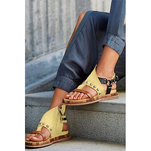 Peep Toe Casual Date Travel Flat Sandals