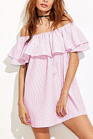 Off Shoulder  Flounce  Striped  Short Sleeve Casual Dresses