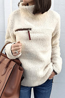 High Neck  Zipper  Plain Sweaters