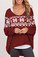 Christmas  Round Neck  Print  Sweatshirts
