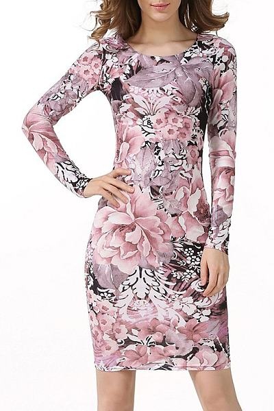 Round Neck Printed Sheath Bodycon Dress