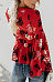 Deep V Neck  Floral Printed  Bell Sleeve  Blouses