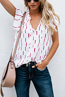 V Neck  Stripes Casual  Blouses