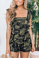 Round Neck  Camouflage  Basic  Playsuits
