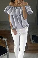 Off Shoulder  Flounce  Plain T-Shirts