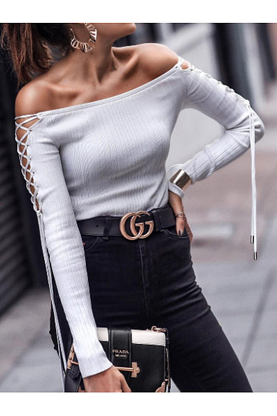 Fashion Shoulder Strap Long Sleeve T-Shirt