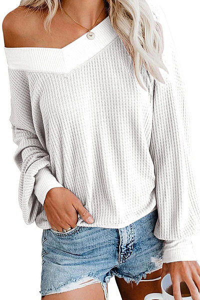 V Neck Loose Fitting Long Sleeve Knit T-Shirts