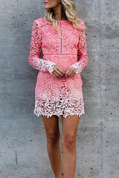 Crew Neck  Decorative Lace  Plain  Long Sleeve Bodycon Dresses